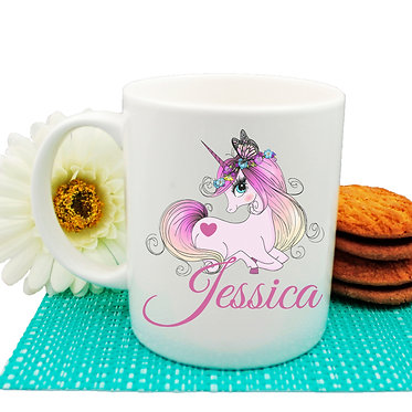 Personalized unicorn ceramic coffee mug with unicorn image front view