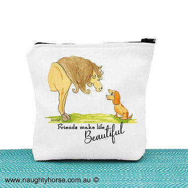Cosmetic toiletry bag with zipper white horse and dog image front view