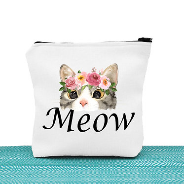 Cat theme cosmetic toiletry bag white cat meow image front view