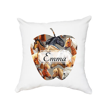 Personalised cushion with zip beautiful horse pattern in shape of apple image front view