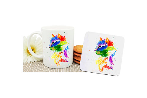 Ceramic coffee mug and drink coaster set bright watercolour cat image front view