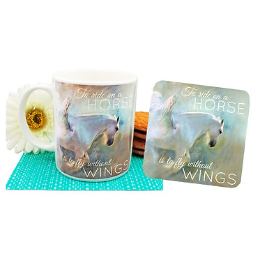 """Ceramic coffee mug and drink coaster set with horse and quote """"to ride on a horse is to fly without wings"""" image front view"""