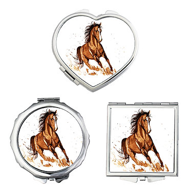 Compact mirrors in 3 shapes heart, round and square with a beautiful brown horse cantering image front view