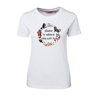 Ladies slim fit t-shirt white 100% cotton with cats and quote home is where my cat is image front view