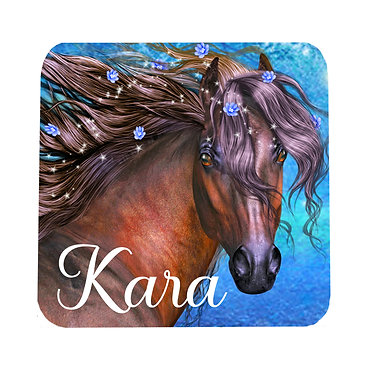 Personalised neoprene drink coaster fantasy horse image front view