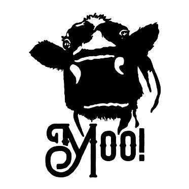 Cow vinyl decal sticker with moo text in black front view