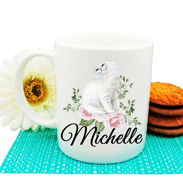 Ceramic coffee mug personalized with white cat with flowers image front view