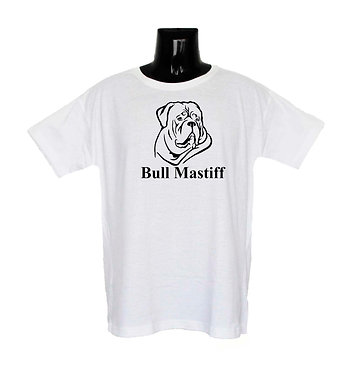 White Bull Mastiff Dog T-Shirt Front View