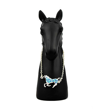 Blue & silver cantering horse necklace front view
