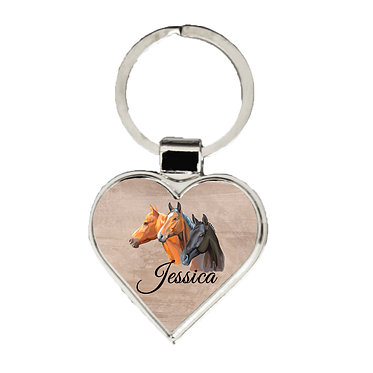 Personalised heart shape metal key-ring three horses image front view