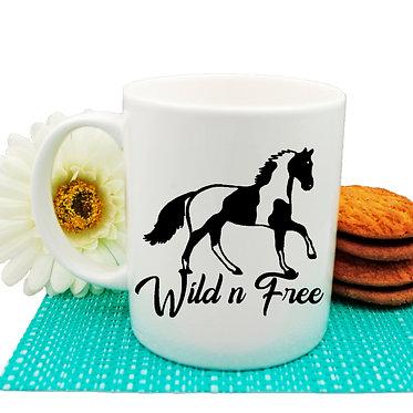 Ceramic coffee mug paint horse wild n free image front view