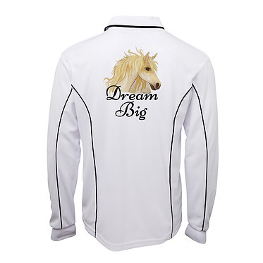 White with navy pipping adults long sleeve polo top dream big horse image back view