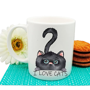 "Ceramic coffee mug black cat and quote ""I love cats"" image front view"