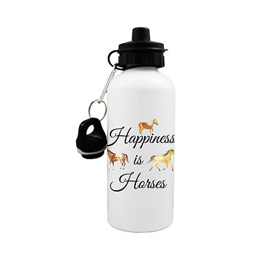 Sports water bottle with happiness is horses image front view lid on