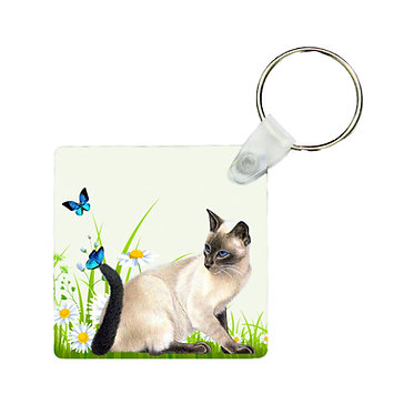 Square keyring cat with butterflies image front view
