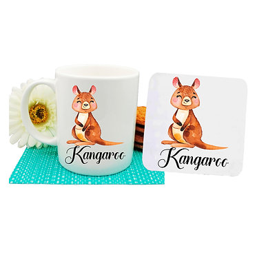 Ceramic coffee mug and drink coaster set Australian Kangaroo image front view