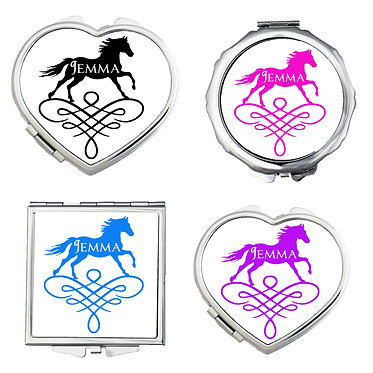 Set of three compact mirrors personalised with horse on scroll image front view