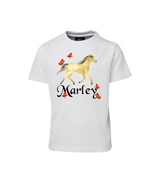 Personalised kids cotton t-shirt horse and butterflies image front view