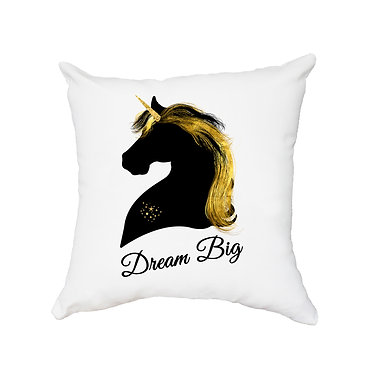 White cushion cover with zip black and gold unicorn image bream big front view