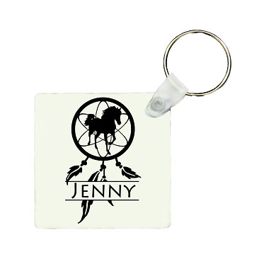 Personalised square MDF wood key-ring dream catcher horse image front view