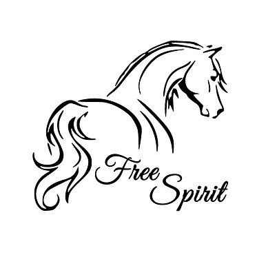 Free spirit Horse vinyl decal in black front view