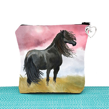 Cosmetic toiletry bag with zipper black horse image front view