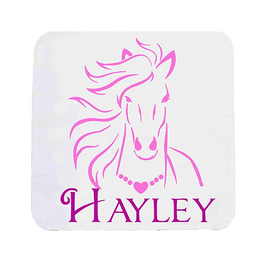 Personalised neoprene drink coaster horse with flowing mane hot pink image front view