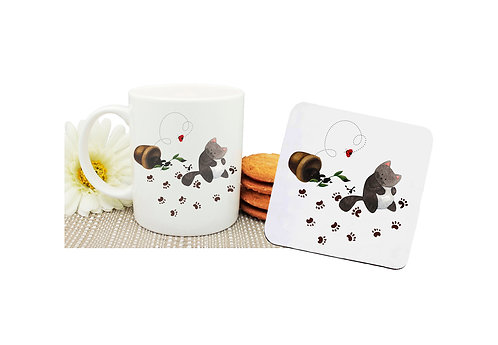 Ceramic coffee mug and drink coaster set messy cat with paw prints image front view