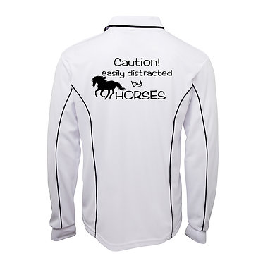 Adults long sleeve polo shirt white navy easily distracted by horses image back view