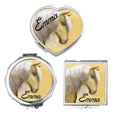 Set of three compact mirrors personalised palomino horse image front view