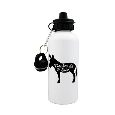 Donkey sports water bottle with donkey love image front view lid on