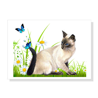 Rectangle art print with cat with butterflies image on acid free card stock front view
