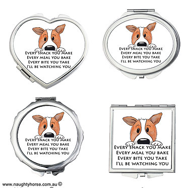 """Set of four compact mirrors round, heart, square, oval cute dog image and quote """"every snack you make"""" front view"""