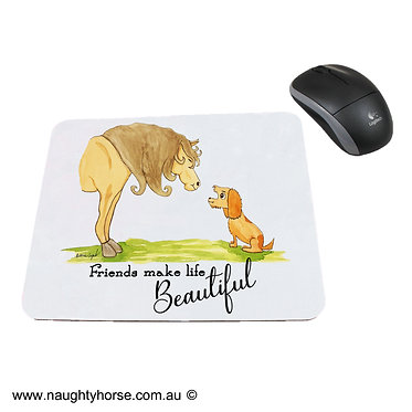 "Neoprene computer mouse pad horse and dog with quote ""friends make life beautiful"" image front view"