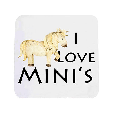 "Neoprene drink coaster with horse and quote ""I love mini's"" image front view"