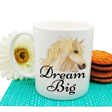 "Ceramic coffee mug with horse and quote ""dream big"" image front view"