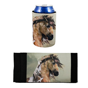 Neoprene stubby cooler with paint horse image front and flat view