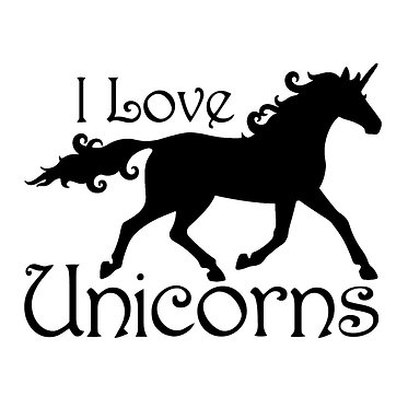 """Unicorn trotting with quote """" I love unicorns vinyl decal sticker in black front view"""