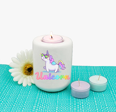Ceramic tealight candle holder unicorn cartoon image front view