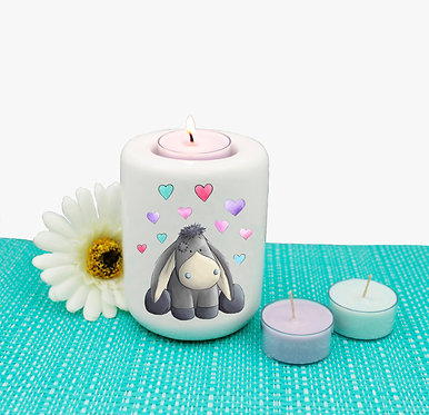 Ceramic tealight candle holder cartoon donkey with hearts image front view