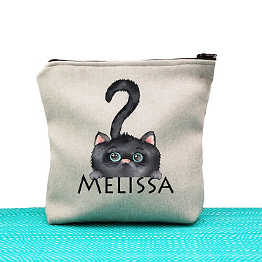 Tan cosmetic toiletry bag with zipper personalized with name and cute black cat image front view