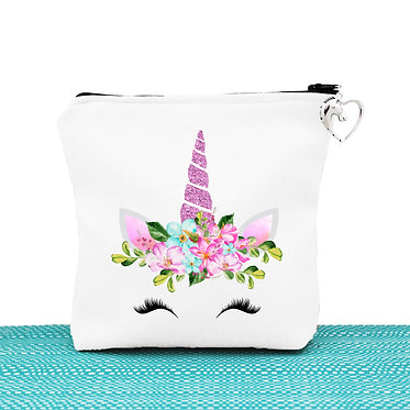 White cosmetic toiletry bag with zip unicorn face great unicorn gift idea front view