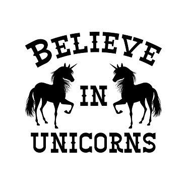 Unicorn vinyl decal sticker with quote believe in unicorns in black front view