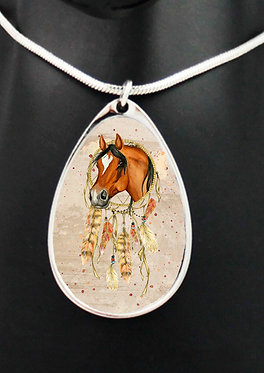 Horse dream catcher tan teardrop charm shape silver necklace closeup front view