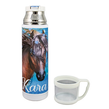 Personalised thermos flask drink travel bottle stainless steel fantasy horse image lid off front view