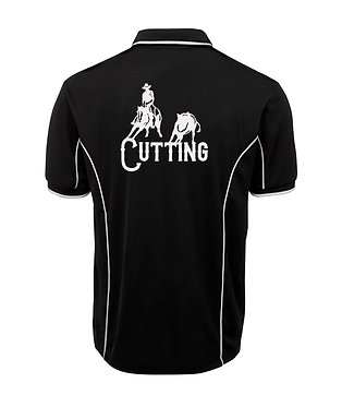 Mens polo shirt cutting horse black with white pipping back view