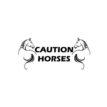 Caution horses horses looking back decal sticker front view