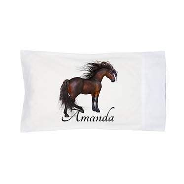 Personalised horse pillow case magical horse image front right facing view