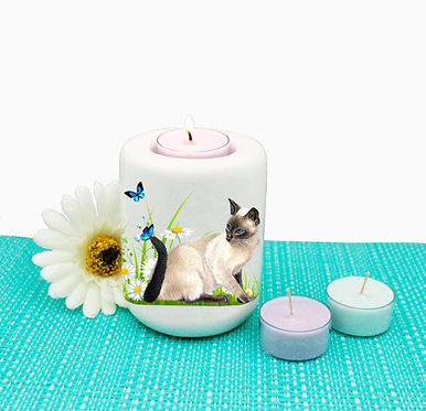 Cat ceramic tealight candle holder cat with butterflies image front view