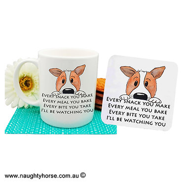 """Dog themed coffee mug and coaster set with dog image and quote """"every snack you make"""" front view"""